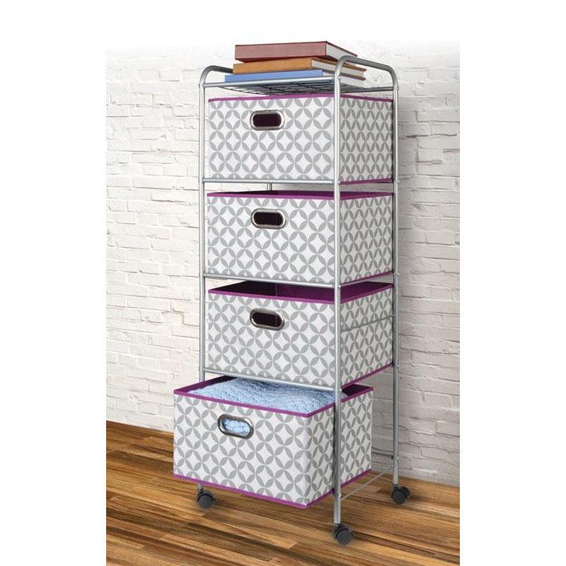 ... Our Multifunctional 17.2u0027u0027W X 13.1u0027u0027D Metal Storage Cart With Fabric