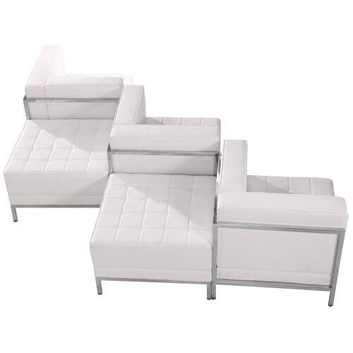 HERCULES Imagination Series Melrose White LeatherSoft 5 Piece Chair & Ottoman Set