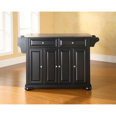 Stainless Steel Top Kitchen Island with Alexandria Style Feet - Black Finish