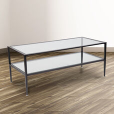 Newport Collection Glass Coffee Table with Black Metal Frame