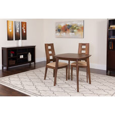 Cranston 3 Piece Walnut Wood Dining Table Set with Window Pane Back Wood Dining Chairs - Padded Seats