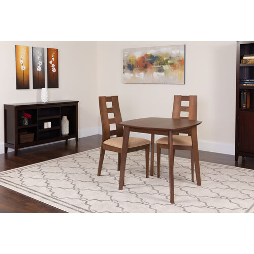 Our Cranston 3 Piece Walnut Wood Dining Table Set with Window Pane Back Wood Dining Chairs - Padded Seats is on sale now.