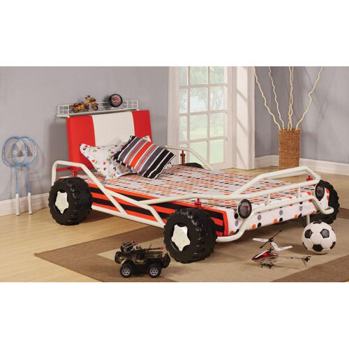 Carson Complete Twin Bed with Storage Shelf - Racing Car - White and Red