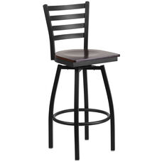 Black Metal Ladder Back Restaurant Barstool with Walnut Wood Swivel Seat