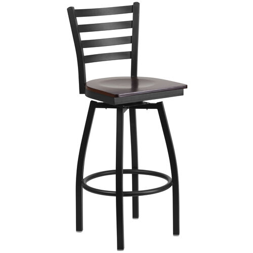 Our Black Metal Ladder Back Restaurant Barstool with Walnut Wood Swivel Seat is on sale now.