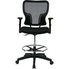 Space Deluxe Air Grid Back and Padded Mesh Seat Drafting Chair with 4-Way Adjustable Flip Arms and Adjustable Footring
