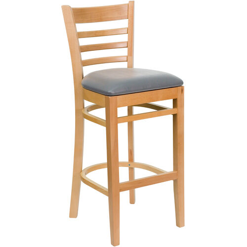 Our Natural Wood Finished Ladder Back Wooden Restaurant Barstool with Custom Upholstered Seat is on sale now.