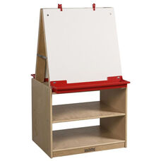 Two Station Dry Erase Board Art Easel with Birch Hardwood Storage Base