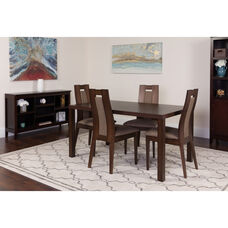 Beckham 5 Piece Espresso Wood Dining Table Set with Curved Slat Wood Dining Chairs - Padded Seats