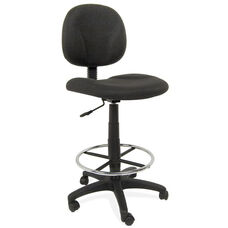 Ergo Pro Armless Drafting Chair with Height Adjustable Chrome Footring and Casters - Black