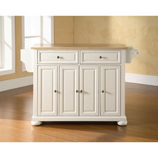 Natural Wood Top Kitchen Island with Alexandria Style Feet - White Finish