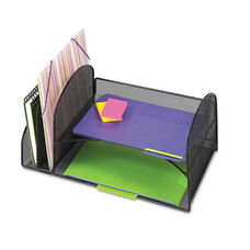 Safco® Desk Organizer - Two Vertical/Two Horizontal Sections - 17 x 10 3/4 x 7 3/4 - Black