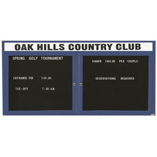 2 Door Outdoor Illuminated Enclosed Directory Board with Header and Blue Anodized Aluminum Frame - 36