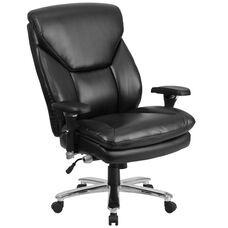 HERCULES Series 24/7 Intensive Use Big & Tall 400 lb. Rated Black Leather Executive Swivel Chair with Lumbar Knob