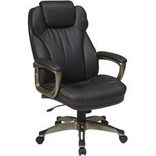 Work Smart Executive Bonded Leather Chair with Padded Arms and Built-in Adjustable Headrest - Espresso