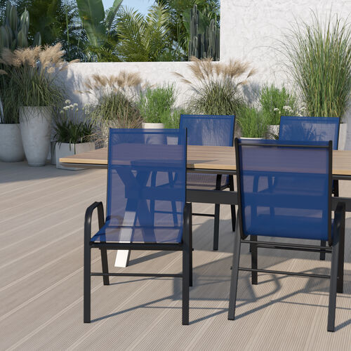 4 Pack Brazos Series Navy Outdoor Stack Chair with Flex Comfort Material and Metal Frame