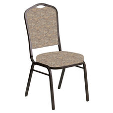 Embroidered Crown Back Banquet Chair in Perplex Fossil Fabric - Gold Vein Frame