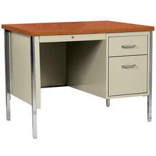500 Series 45'' W x 24'' D x 29.5'' H Single Pedestal Desk - Putty Base with Oak Top