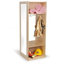 Dress-Up Wardrobe with Full-Length Acrylic Mirror and Storage Hooks