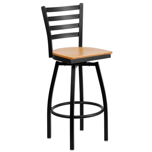 Our Black Metal Ladder Back Restaurant Barstool with Natural Wood Swivel Seat is on sale now.