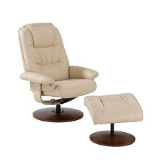 Bonded Leather Swivel Recliner with Ottoman - Taupe