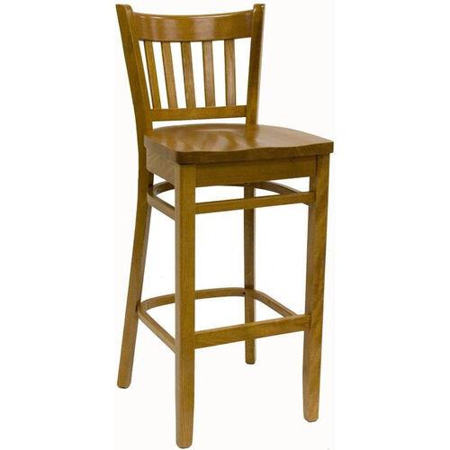 Vertical Back Solid Wood Barstool