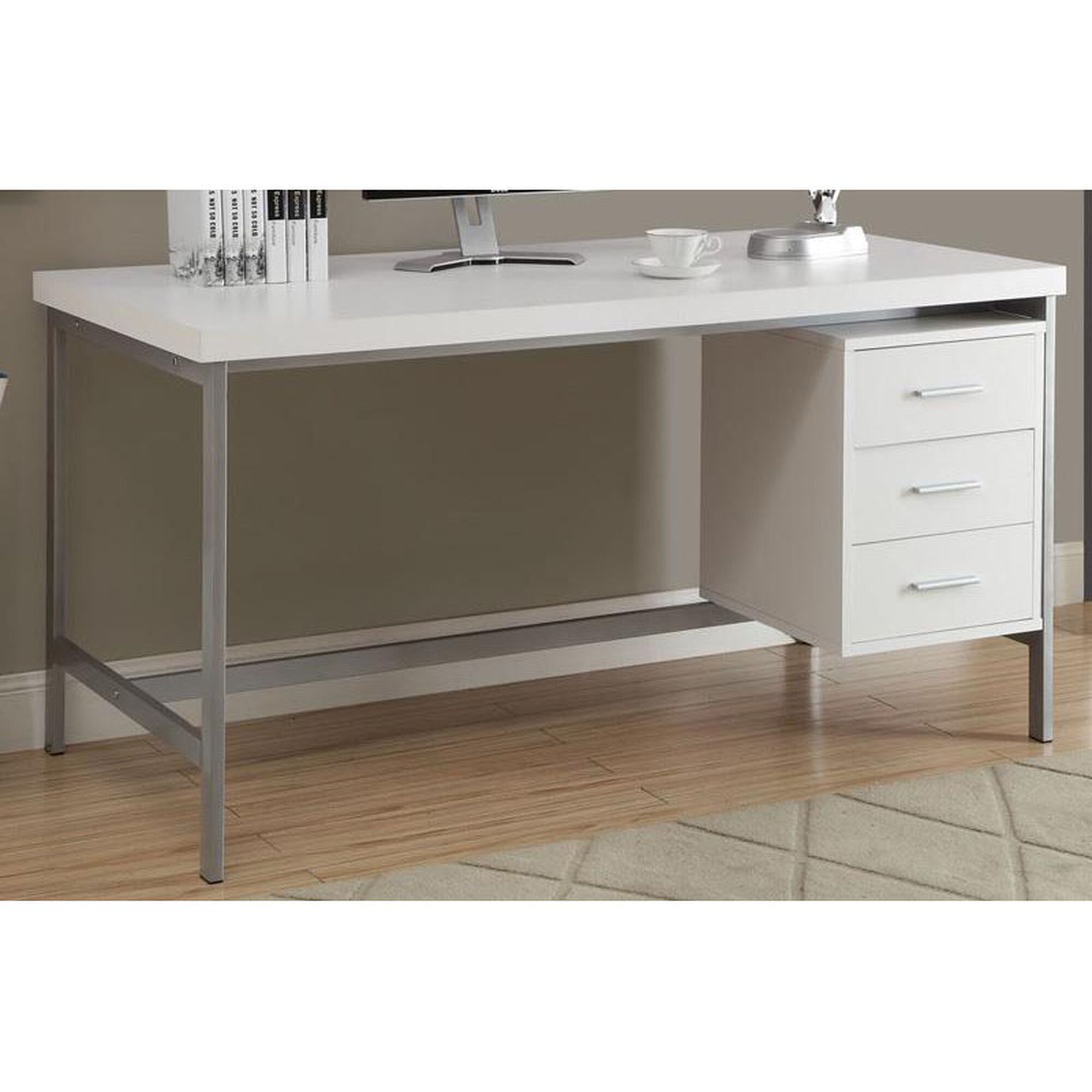 Traditional 60\'\'W Home Office Desk with Three Drawers - White