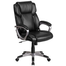 Mid-Back Black Leather Executive Swivel Chair with Padded Arms