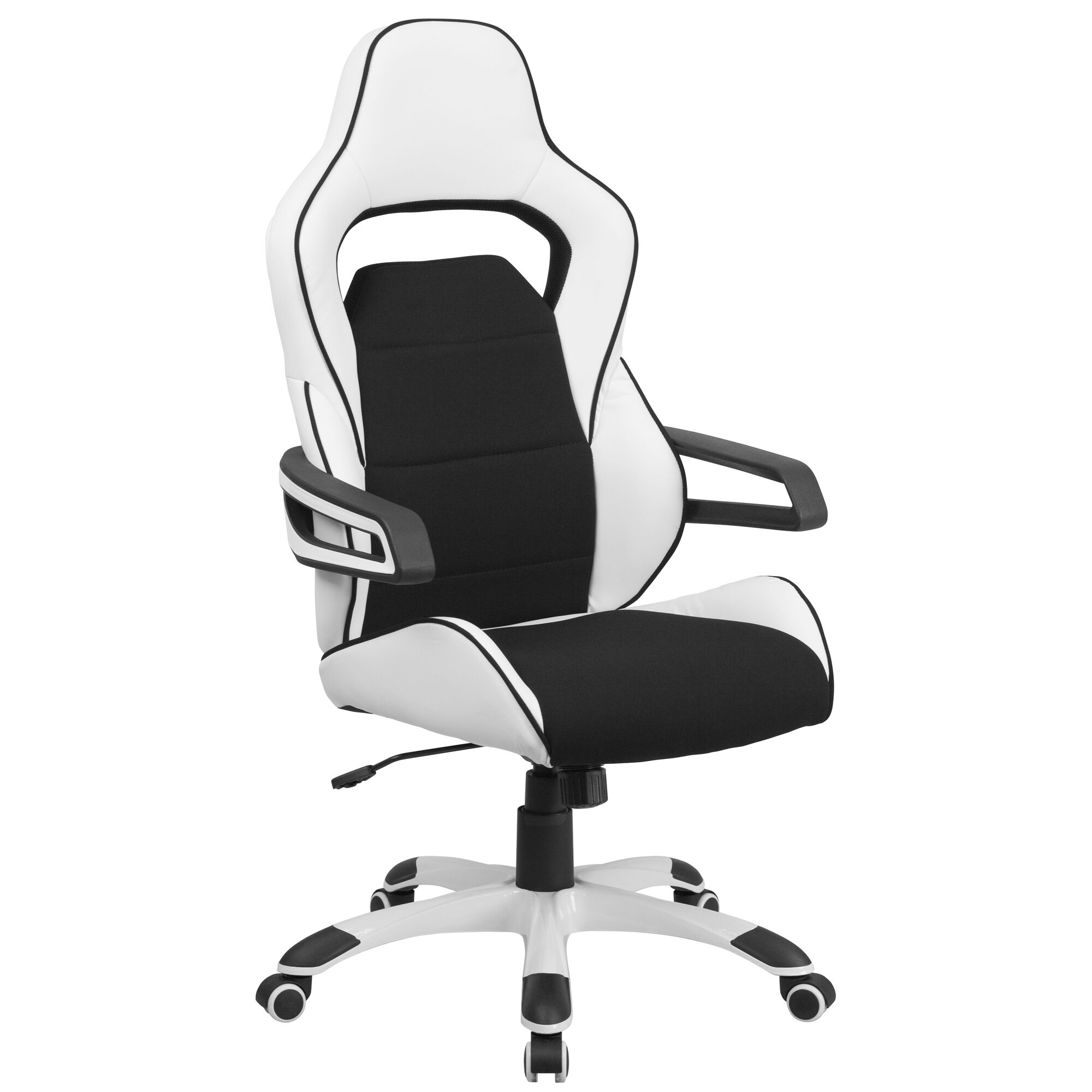 Surprising High Back White Vinyl Executive Swivel Office Chair With Black Fabric Inserts And Arms Onthecornerstone Fun Painted Chair Ideas Images Onthecornerstoneorg