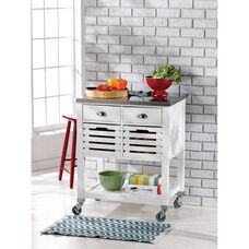 Robbin Mobile Kitchen Cart with Stainless Steel Top and Locking Casters - White
