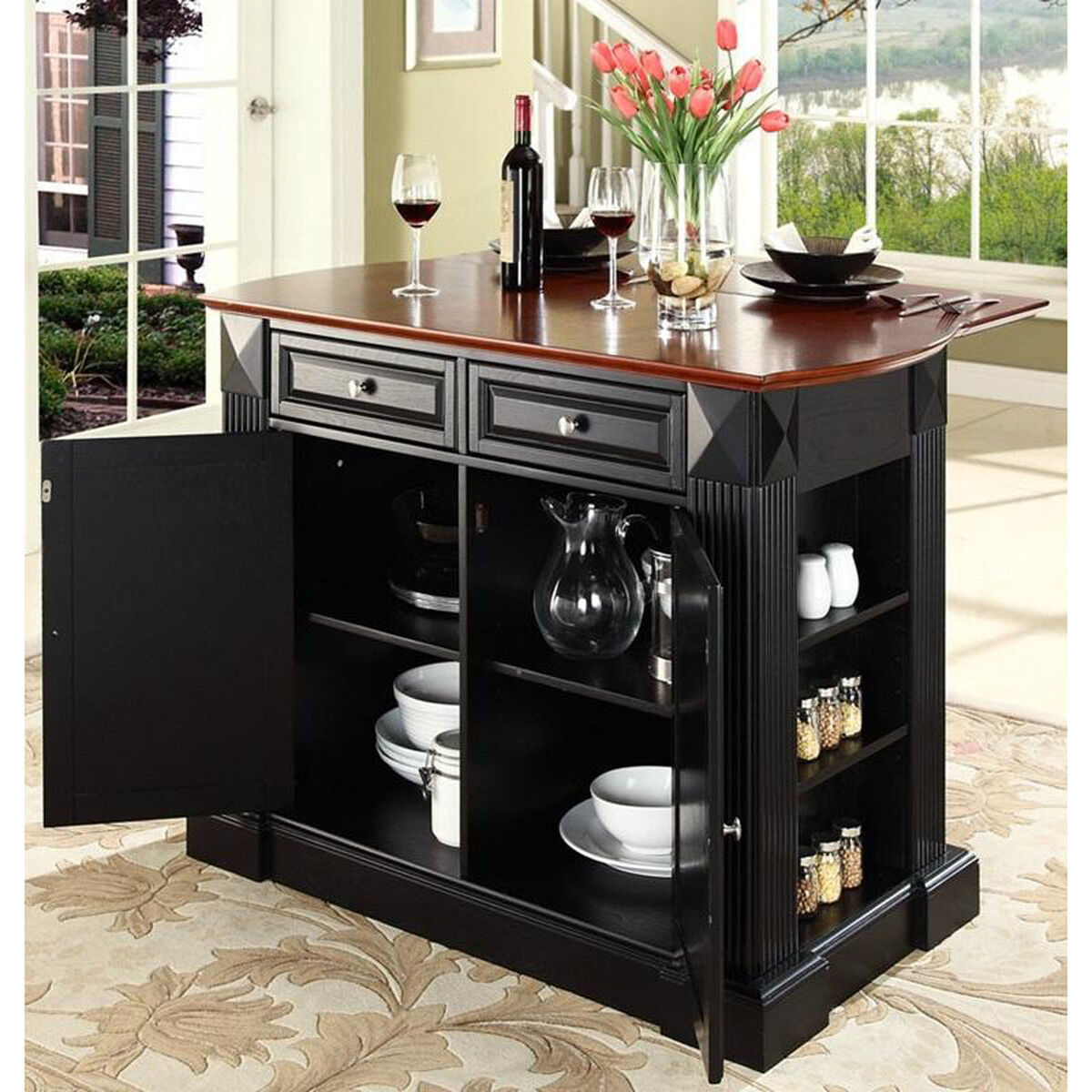 Our drop leaf breakfast bar top kitchen island cherry and black finish is on sale