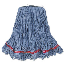 Rubbermaid® Commercial Web Foot Looped-End Wet Mop Head - Cotton/Synthetic - Medium Size - Blue - 6/Carton