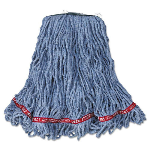 Our Rubbermaid® Commercial Web Foot Looped-End Wet Mop Head - Cotton/Synthetic - Medium Size - Blue - 6/Carton is on sale now.