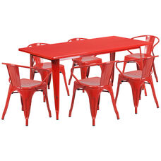 """Commercial Grade 31.5"""" x 63"""" Rectangular Red Metal Indoor-Outdoor Table Set with 6 Arm Chairs"""