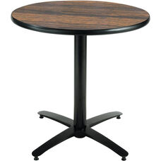 30'' Round Laminate Pedestal Table with Walnut Top - Black Arch Base