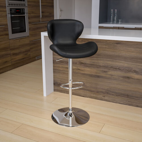 Contemporary Adjustable Height Barstool with Curved Back and Chrome Base