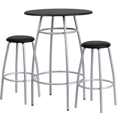 Bar Height Table Set with Padded Stools