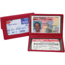 Tri View Id Holder - Top Grain Nappa Leather - Red