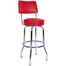 Retro Style Chrome Frame 30''H Swivel Bar Stool with Backrest and Padded Seat - Red Vinyl