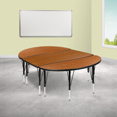 "3 Piece 76"" Oval Wave Collaborative Oak Thermal Laminate Activity Table Set - Height Adjustable Short Legs"
