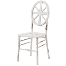 Veronique Series Stackable Wagon Wood Dining Chair - Set of 2 - Lime White Wash