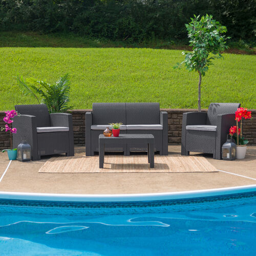 Our 4 Piece Outdoor Faux Rattan Chair, Loveseat and Table Set in Dark Gray is on sale now.