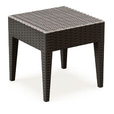 Miami Outdoor Wickerlook Resin Square Side Table - Brown