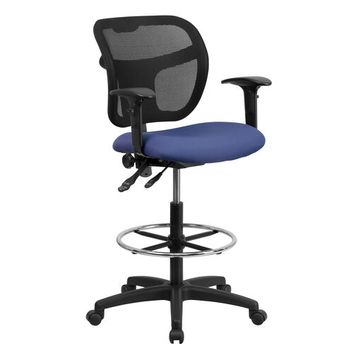 Our Mid-Back Navy Blue Mesh Drafting Chair with Back Height Adjustment and Adjustable Arms is on sale now.