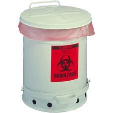 SoundGard™ 10 Gallon Steel Biohazard Waste Cans - White