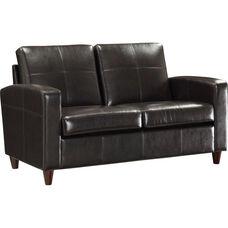 OSP Furniture Eco Leather Loveseat with Espresso Finish Legs - Espresso