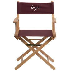 Embroidered Standard Height Directors Chair in Brown