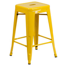"""Commercial Grade 24"""" High Backless Yellow Metal Indoor-Outdoor Counter Height Stool with Square Seat"""