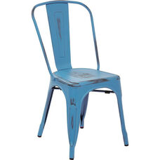 OSP Designs Bristow Stackable Armless Metal Chair - Set of 2 - Antique Royal Blue