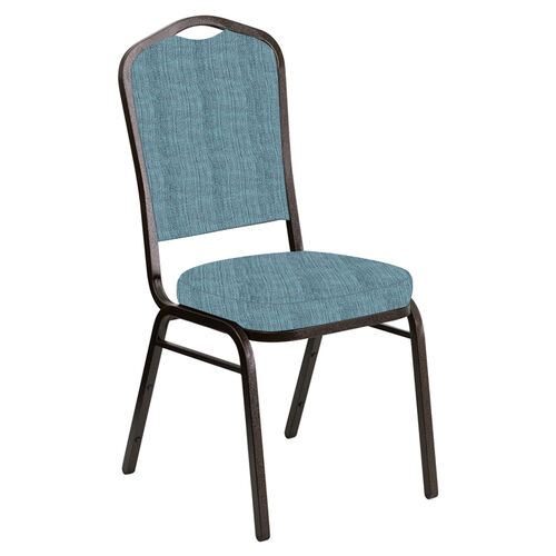 Our Embroidered Crown Back Banquet Chair in Sammie Joe Aqua Fabric - Gold Vein Frame is on sale now.